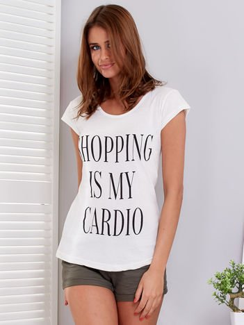 T-shirt ecru SHOPPING IS MY CARDIO