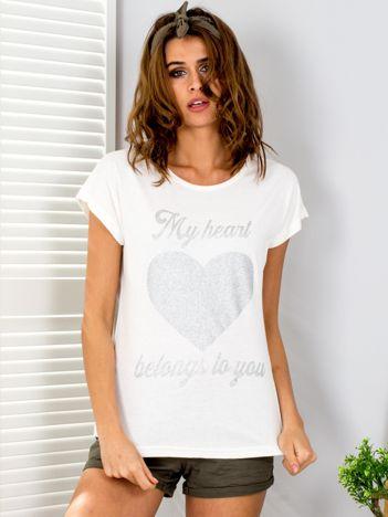 T-shirt ecru z brokatowym nadrukiem