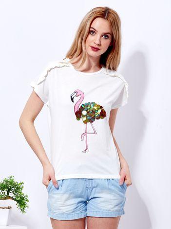 T-shirt ecru z cekinowym flamingiem