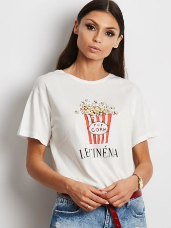 T-shirt ecru z popcornem