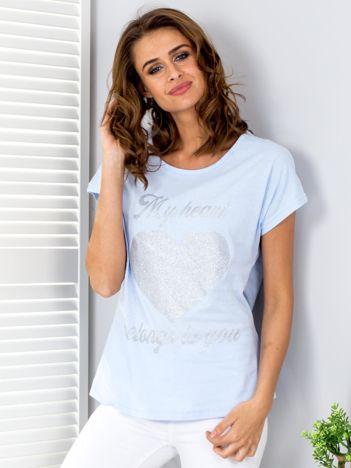 T-shirt jasnoniebieski z brokatowym nadrukiem