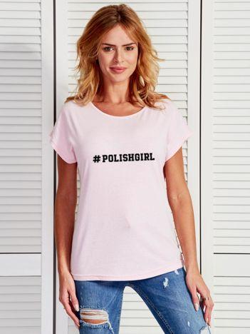 T-shirt jasnoróżowy damski z hashtagiem #POLISHGIRL