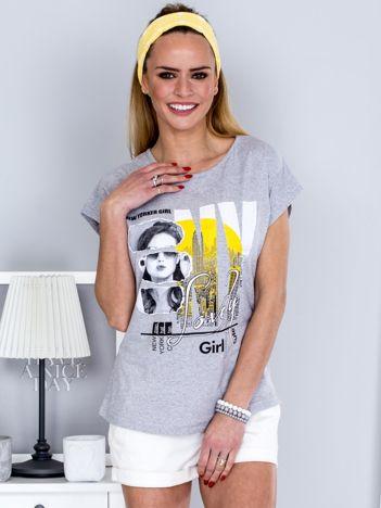 T-shirt jasnoszary z miejskim printem