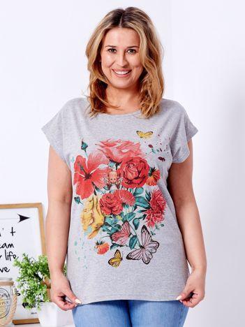 T-shirt jasnoszary z motywem kwiatowym i aniołkiem PLUS SIZE