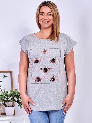 T-shirt jasnoszary z nadrukiem owadów PLUS SIZE