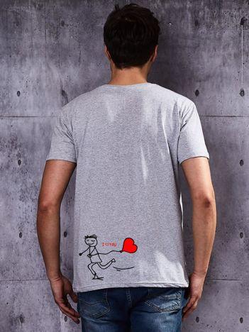 T-shirt męski I LOVE YOU dla zakochanych par szary