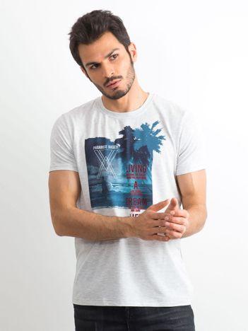 T-shirt męski bawełniany z printem jasnoszary