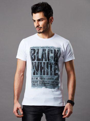 T-shirt męski biały Black White