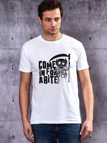 T-shirt męski biały z nadrukiem Halloween