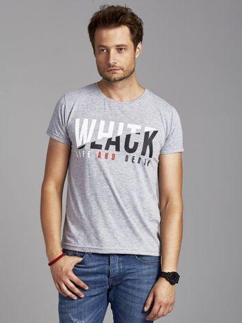 T-shirt męski w miejskim stylu szary