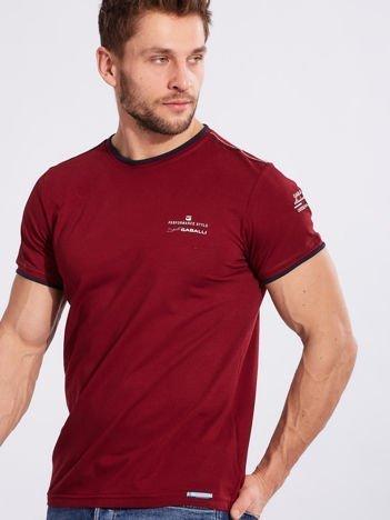 T-shirt męski z bawełny bordowy