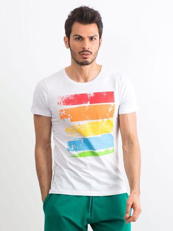 T-shirt męski z kolorowym nadrukiem biały