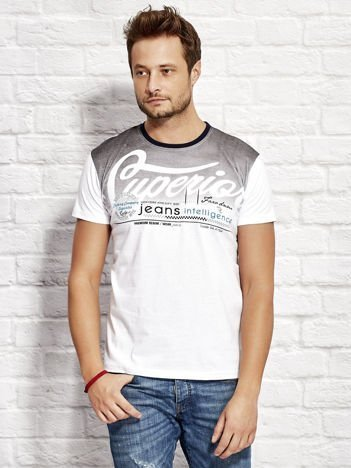 T-shirt męski z miejskim nadrukiem biały