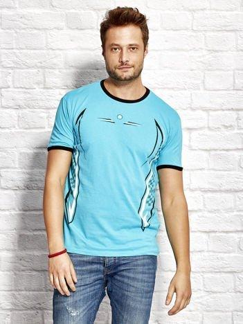 T-shirt męski z modelującym nadrukiem turkusowy