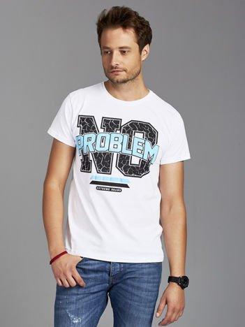 T-shirt męski z napisem NO PROBLEM biały