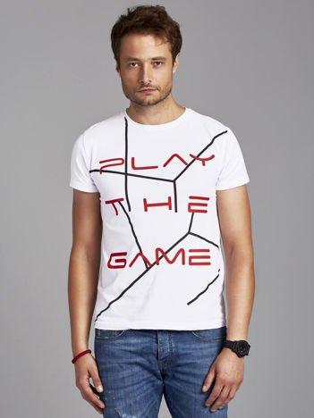 T-shirt męski z napisem PLAY THE GAME biały