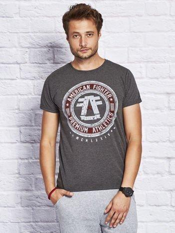 T-shirt męski z okrągłym nadrukiem ciemnoszary