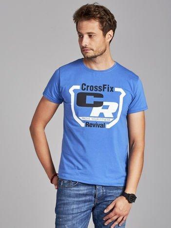 T-shirt męski ze sportowym nadrukiem ciemnoniebieski
