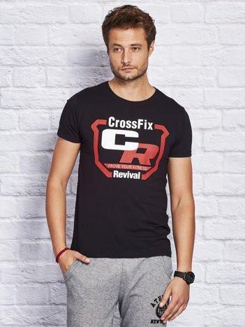 T-shirt męski ze sportowym nadrukiem czarny
