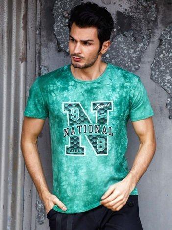 T-shirt męski zielony z printem