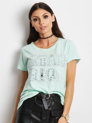 T-shirt miętowy z napisem cut out