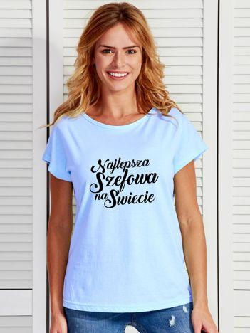 T-shirt niebieski NAJLEPSZA SZEFOWA NA ŚWIECIE