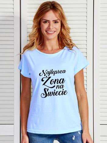 T-shirt niebieski NAJLEPSZA ŻONA NA ŚWIECIE