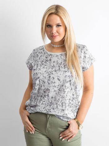 T-shirt plus size we wzory szary