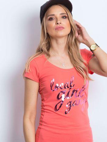 T-shirt pomarańczowy Local Girl Gang