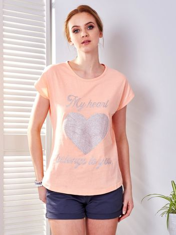 T-shirt pomarańczowy z brokatowym nadrukiem