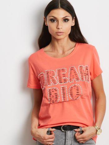 T-shirt pomarańczowy z napisem cut out