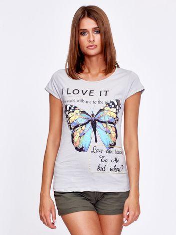 T-shirt szary z motylem