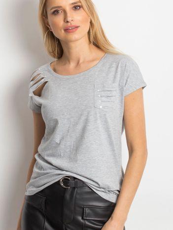 T-shirt szary z rozcięciami