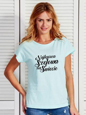 T-shirt turkusowy NAJLEPSZA SZEFOWA NA ŚWIECIE