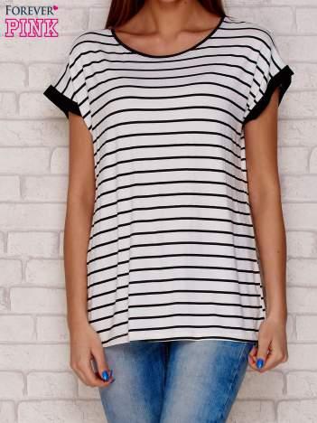 T-shirt w paski czarny