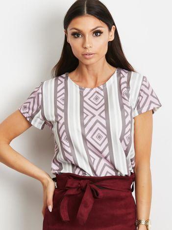 T-shirt w romby i paski fioletowy