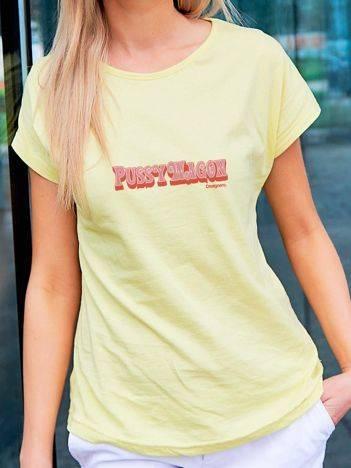 T-shirt z animowanym nadrukiem żółty