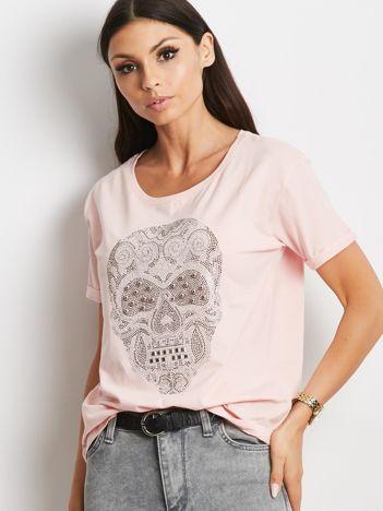 T-shirt z biżuteryjną czaszką jasnoróżowy