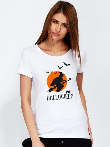 T-shirt z czarownicą na Halloween biały