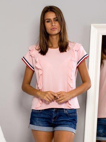 T-shirt z falbankami i ozdobną lamówką różowy