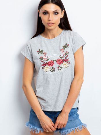 T-shirt z haftowanym nadrukiem kwiatów szary