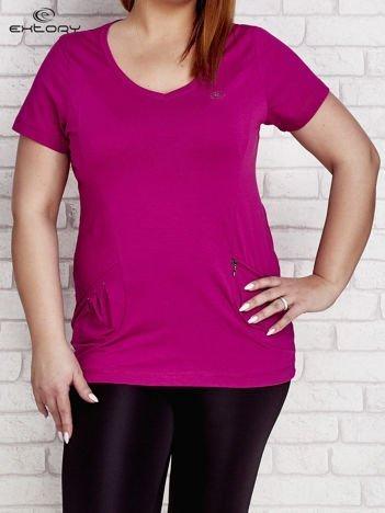 T-shirt z kieszonką fioletowy PLUS SIZE