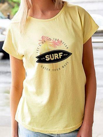 T-shirt z letnim nadrukiem żółty