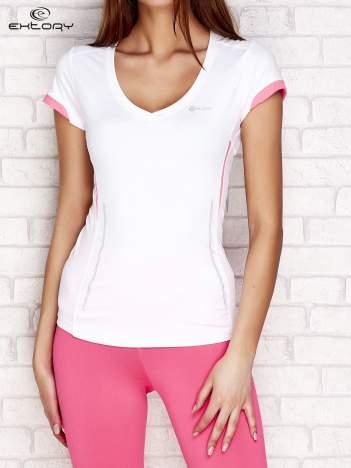 T-shirt z modelującymi przeszyciami biały