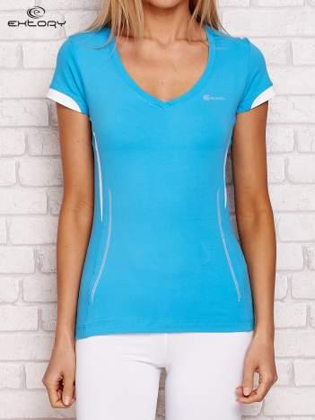 T-shirt z modelującymi wstawkami turkusowy