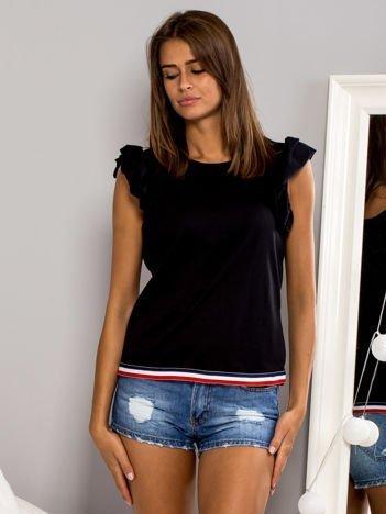 T-shirt z motylkowymi rękawami czarny