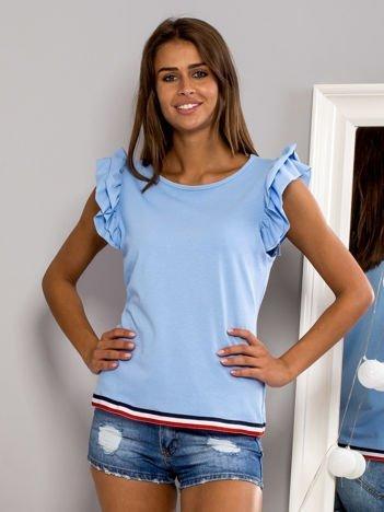 T-shirt z motylkowymi rękawami jasnoniebieski