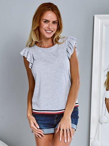 T-shirt z motylkowymi rękawami jasnoszary