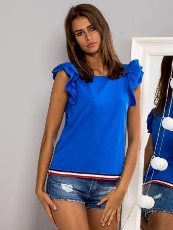 T-shirt z motylkowymi rękawami niebieski