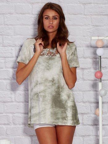 T-shirt z motywem acid wash khaki
